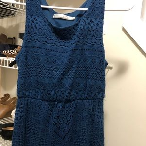 High. Low navy blue lace maxi dress